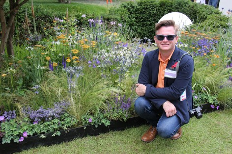 Congratulations to English Gardening School Graduate Freddie Whyte, here with his  RHS Silver medal award winning garden at Hampton Court 2014.